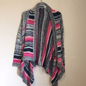 Eyeshadow open front waterfall striped cardigan